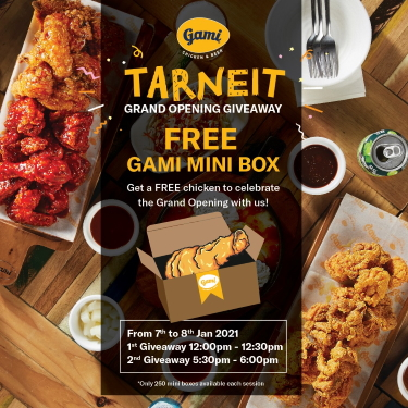 Gami Chicken & Beer – Grand Opening Giveaway – Free Gami Mini Box